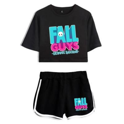 Fall Guys: Ultimate Knockout Sommer T Shirt Kurzarm Rundhals crop tops Schwarz