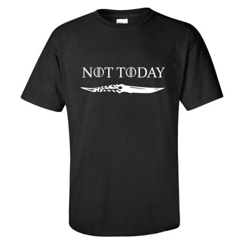 GoT Game of Thrones NOT TODAY Top Tee T-Shirt Kurzarm Rundhals für Erwachsene Unisex Schwarz für Sommer