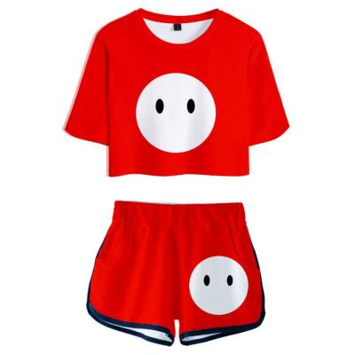 Fall Guys: Ultimate Knockout Rosa Set Sommer T-Shirts Oberteil Shorts Rot Gelb