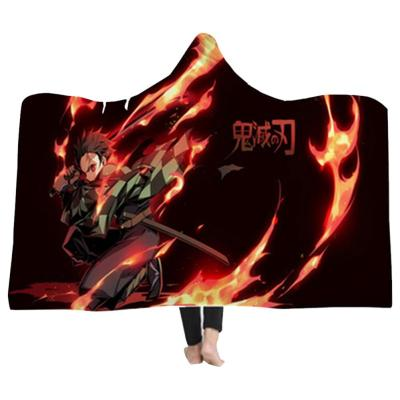 150*200CM Demon Slayer 3D Hooded Decke Decke mit Kaputze Erwachsene Tragbar Decke