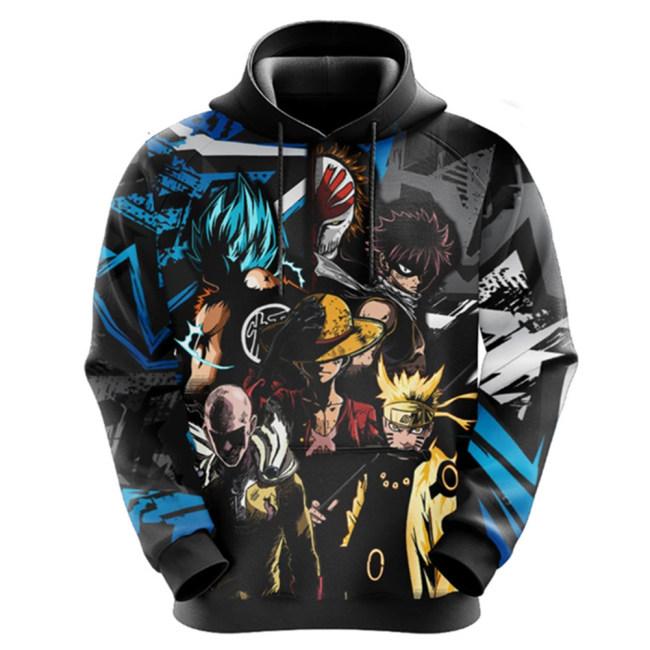 My Hero Academia X Naruto X One Piece X One Punch Man X Dragonball X GINTAMA Hoodie Kaputzenpullover für Erwachsene Unisex Pulli