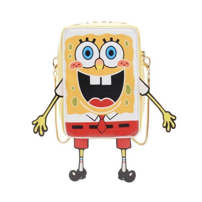Kartoon SpongeBob 3D Druck Klein Quadratische Tasche Kinder Schultertasche Kuriertaschen