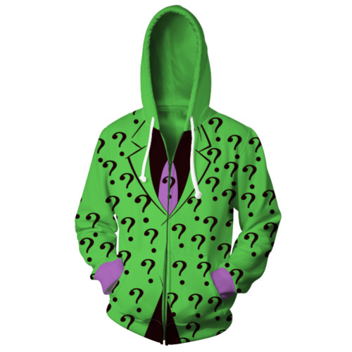 Riddler Edward Nygma Jacke mit Kaputze Kaputzenpullover für Erwachsene Unisex Jacke