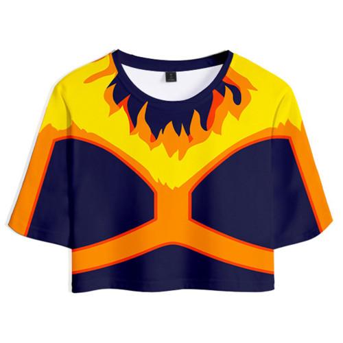 My Hero Academia ENDEAVOUR Sommer T Shirt Kurzarm Rundhals crop tops Schwarz