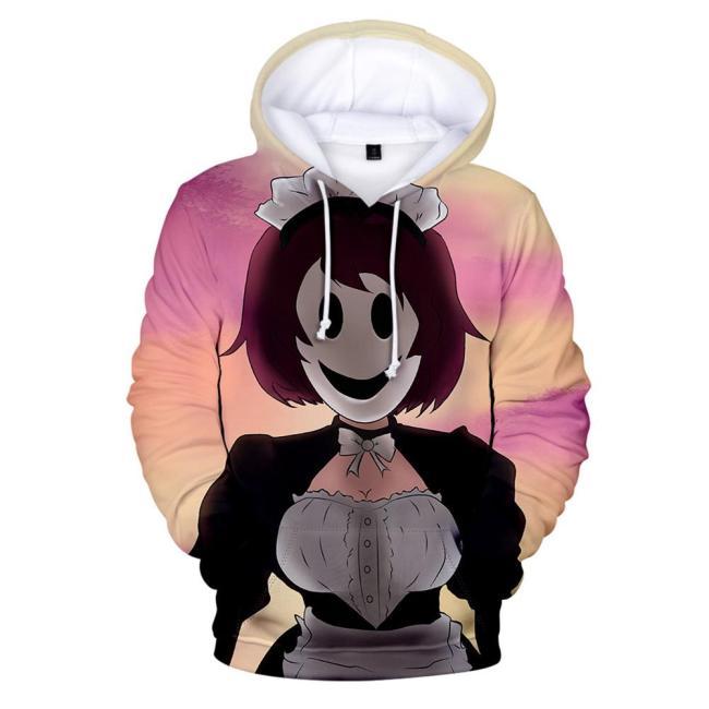 High-Rise Invasion Maid-fuku Kamen Hoodie 3D Druck Maid Mask Sweatshirt Erwachsene Pullover mit Kaputze für Alltag
