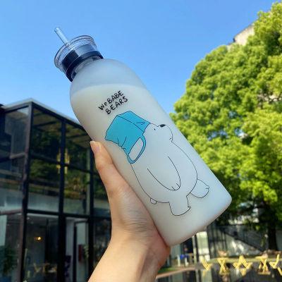 Trinkflasche We Bare Bears - Bären wie wir Grizz Panda Eisbär Wasserflasche mit Trinkhalm 1000ml Plastik Trinkflasche