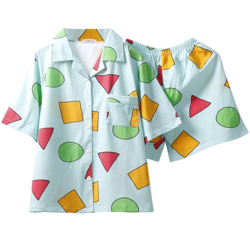 Manga Cartoon Shin-Chan Schlafanzug Set Sommer Pajama Set T-Shirt Shorts 2tlg