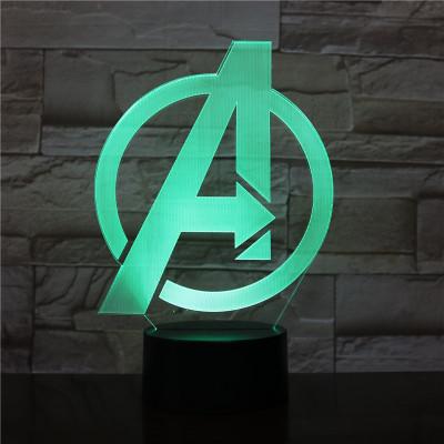 Avengers LED Licht A-Logo Tischlampe Nachtlicht 7 Farbe Zuhause Dekoration