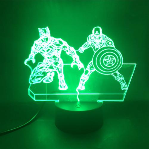 Avengers Captain America Black Panther Avengers LED Licht Batman Tischlampe Nachtlicht 7 Farbe Zuhause Dekoration