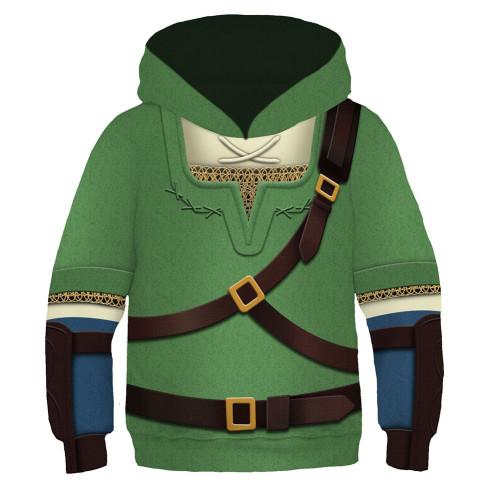 Kinder The Legende of Zelda Cosplay Hoodie 3D Druck Sweatshirt Kinder Pullover mit Kaputze für Alltag