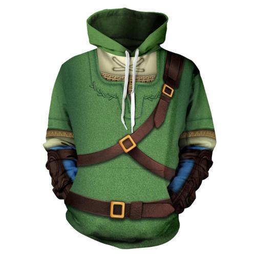 The Legende of Zelda Cosplay Hoodie 3D Druck Sweatshirt Erwachsene Pullover mit Kaputze grün Pulli
