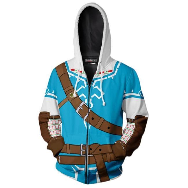 Legend of Zelda Link Hoodie Pullover mit Kaputze Jacke mit Reißverschluss Erwachsene 3D Druck