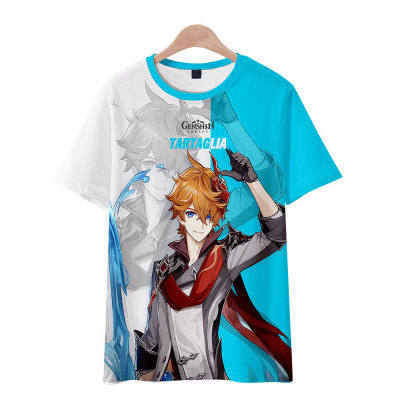 Unisex Genshin Impact Sommer T-Shirt Rundhals Kurzarm T-Shirt Erwachsene Unisex T- Shirt