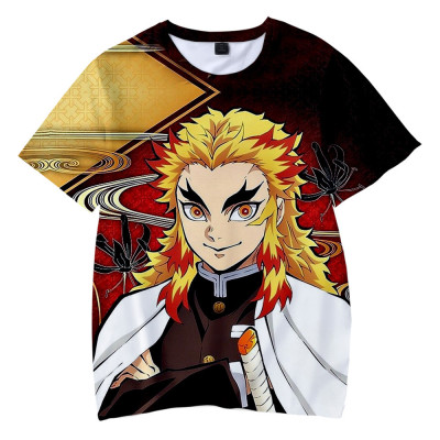 Demon Slayer Kimetsu no Yaiba T Shirt Sommer Rundhals Kurzarm T-Shirt für Anime Fans