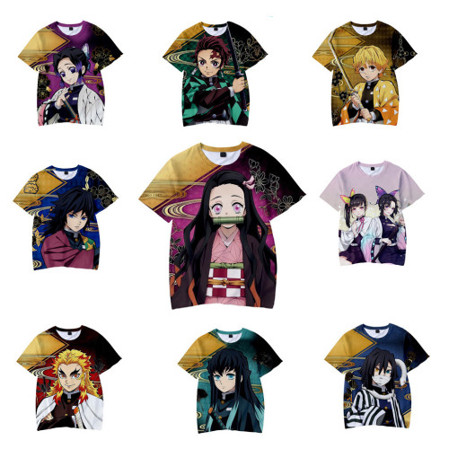 Demon Slayer Kimetsu no Yaiba T Shirt Sommer Rundhals Kurzarm T-Shirt für Anime Fans
