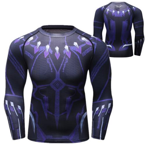 Avengers Superhelden T-Shirt Rundhals Langarm Herren Schnell trocknen T-Shirt Sportlich T-Shirt
