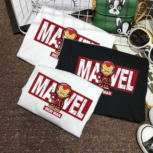 Avengers Superhelden T-Shirt Mama Papa Kinder T-Shirt Rundhals Kurzarm Baumwolle T-Shirt