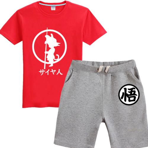 Dragon Ball Sommer Sportbekleidung T-Shirt Shorts Set Kurzarm Rundhals