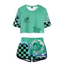 Demon Slayer Sommer T Shirt Kurzarm Rundhals Kamado Tanjirou Sportbekleidung