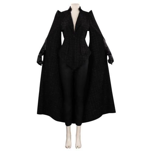 Cruella de Vil Emme Stone schwarz Mantel Cosplay Kostüm Halloween Karneval Outfits