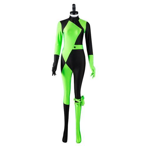 Kim Possible Shego Cosplay Kostüm Jumpsuit Halloween Karneval Outfits