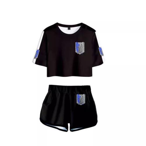Attack on Titan Shingeki no Kyojin Scouting Legion Sommer T-Shirts Damen Oberteil Kurzarm