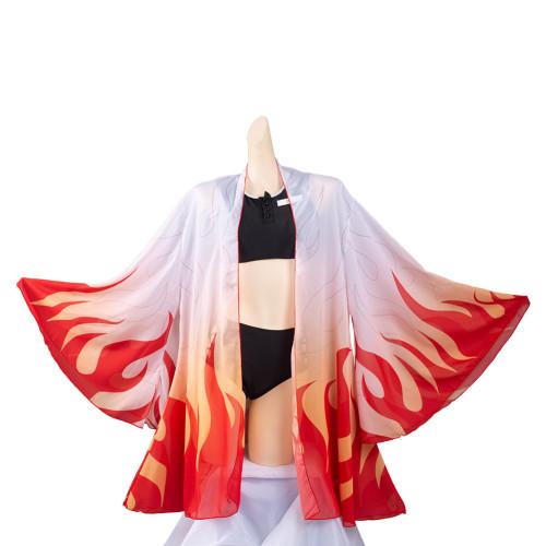 Damen Demon Slayer: Kimetsu no Yaiba Bikini Rengoku Kyoujurou Mixkini Bikini mit Umhang Sommer Bikini 3lg