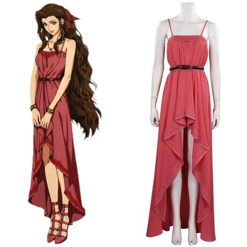 Final Fantasy VII FF7 Remake Aeris Aerith Gainsborough Cosplay Kleid Halloween Karneval Kostüm