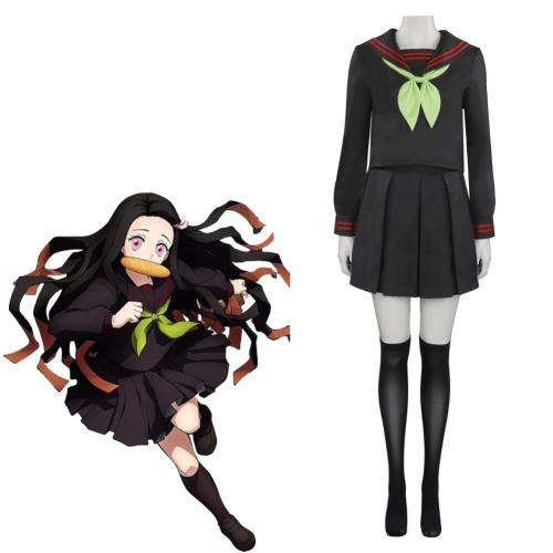 Spiel Demon Slayer Kimetsu no Yaiba: Hinokami Kepputan Kamado Nezuko Schuluniform Cosplay Kostüm