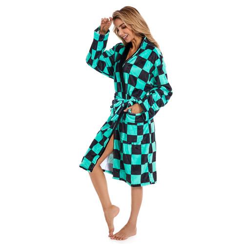 Bademantel Demon Slayer Schlafanzug Plüsche Robe Mantel Erwachsene Pajamas