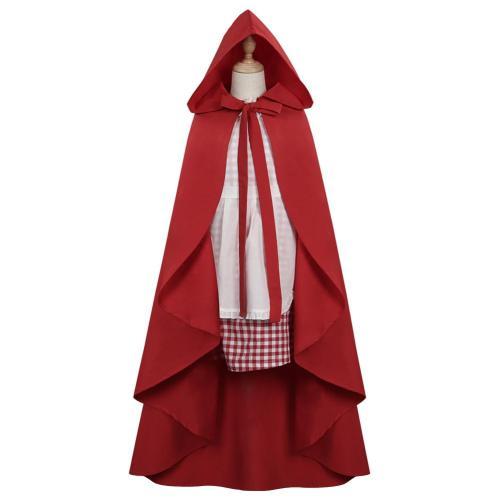 Kinder Rotkäppchen Little Red Cosplay Kostüm Kleid Umhang Halloween Karneval Outfits