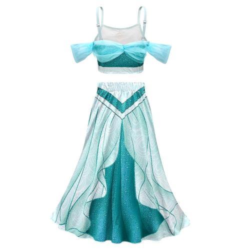 Kinder Aladdin Prinzessin Jasmine Mädchen Cosplay Kostüme Rundhals Halloween Karneval Kleid