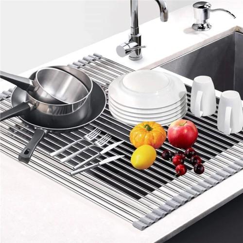 多功能可折疊不鏽鋼水槽瀝水架(洗菜架+碗捲簾+餐具墊)