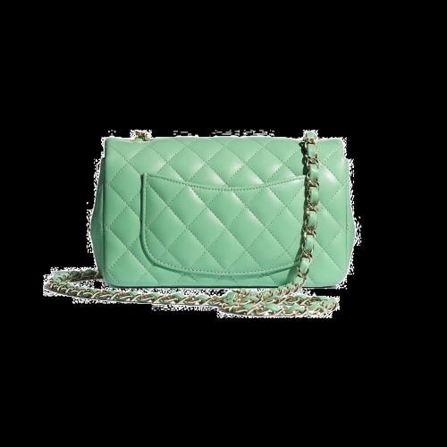 Chanel Lambskin & Gold-Tone Metal Green Mini Flap Bag