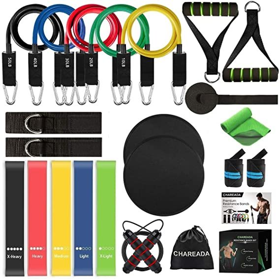 CHAREADA 23 Pack Resistance Bands Set Workout Bands, 5 Stackable Exercise Bands 5 Loop Resistance Bands 2 Core Sliders – Door Anchor Handles Ankle Straps Carry Bag Instant Cooling Towel Wrist Wraps