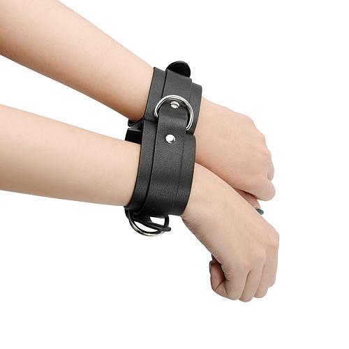 クラシックブラック 革製連結手枷