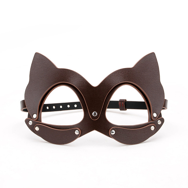 ダークブラウン ネコマスク