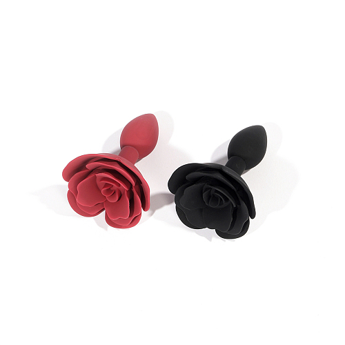 お尻に薔薇の花が咲くシリコンアナルプラグ 赤 / 黒