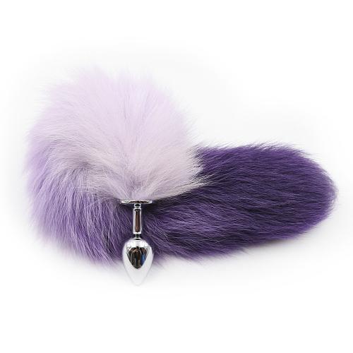 キツネテールアナルプラグ 紫色グラデーション狐尻尾