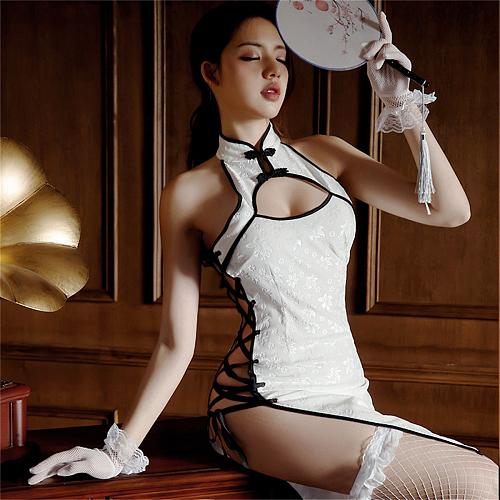 セクシーチャイナドレス サイド編み上げ  ホワイト