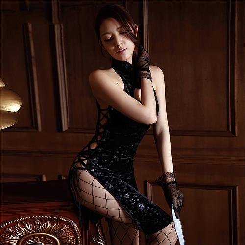 セクシーチャイナドレス サイド編み上げ ブラック