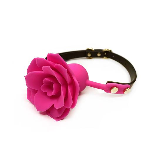 口に薔薇の花が咲く シリコンローズボールギャグ ローズピンク