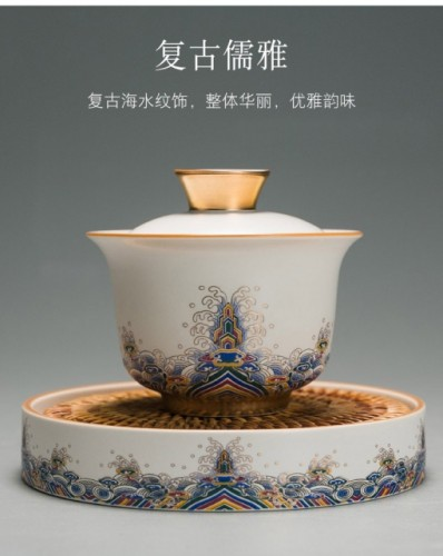 gold enamel painted ceramics