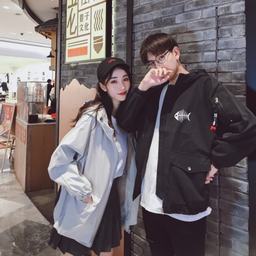 Couples wear spring and autumn coats