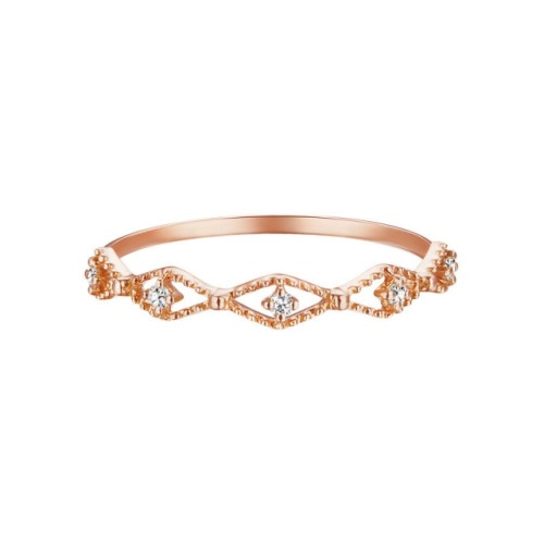 Rose gold inlaid diamond ring women