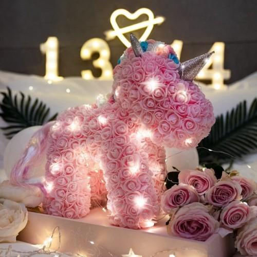 Handmade rose flower unicorn birthday gift