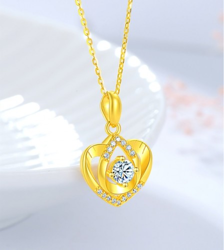 Diamond Heart Necklace 24K Pure Gold