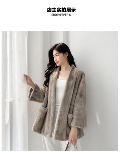 Mink coat V-neck