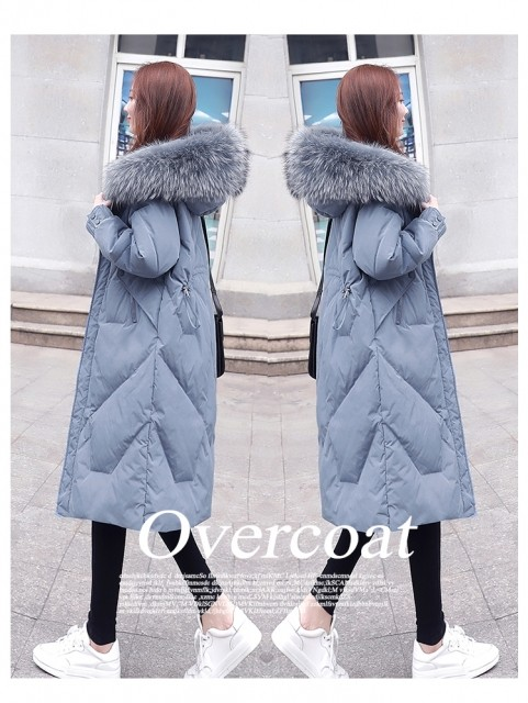 Over the knee long slim down jacket