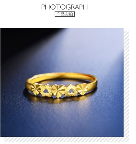 Gold heart shaped ladies ring